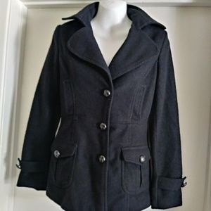 Cotton Candy Black Peacoat for Woman 3 Button coat